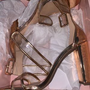 Rose Gold Block Heels-Brand New
